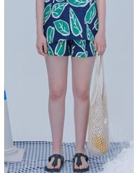 Blank - Leaf Resort Shorts Navy - Lyst