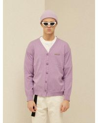 13Month - [unisex] Brooch Basic Cardigan Purple - Lyst