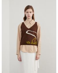 among A Drawing Knit Vest Brown