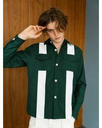 BONNIE&BLANCHE - Big Stripe Shirt Jacket Green - Lyst