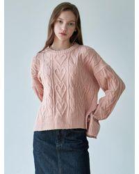 YAN13 Aran Crop Knit - Pink