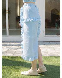 CLUT STUDIO 0 9 Seersucker Stripe Ruffle Skirt - Blue