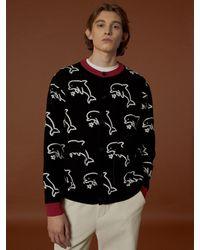 WAIKEI Dolphin Pattern Knit Cardigan Black