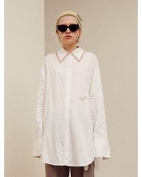 13Month - [unisex] Taping Collar Long Shirt Sky White - Lyst