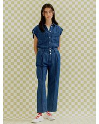 a.t.corner - Volume Tuck Linen-denim Pants (dark Blue) - Lyst
