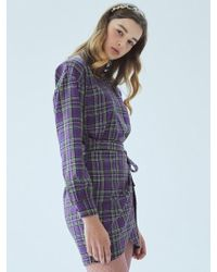 MIGNONNEUF - Crush Layer Dress Check Purple - Lyst