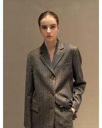 AVA MOLLI Wool Check Three Button Jacket - Multicolour