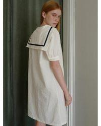 W Concept - Linen Sailor Dress White - Lyst