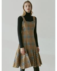 YAN13 Tartan Check Bustier Dress - Natural