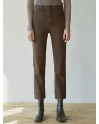 YAN13 Semi Tapered Cotton Trousers - Brown