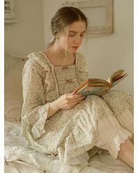 ULLALA PAJAMAS Delia Long Sleeve Dress (cream) - Natural