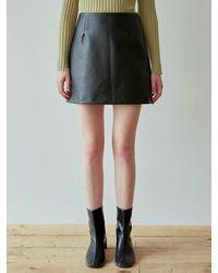 YAN13 Skin Leather Mini Skirt - Black