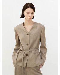 AVA MOLLI [summer Wool] Collarless 3 Buttoned Jacket - Natural