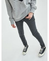 COLLABOTORY - Lettering Embroidery Denim Jeggings In Gray - Lyst