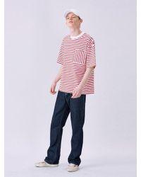 VOIEBIT - V231 Stitch Wide Denim Pants Indigo - Lyst