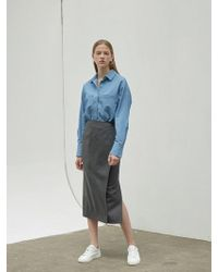 NILBY P - Suit Wrap Skirt Charcoal - Lyst