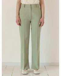 among A Twill Side Slit Trousers - Green