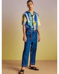 W Concept - Stich Denim Cropped Trousers Apa234m Dark Blue - Lyst