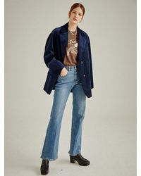 a.t.corner [premium Orta] Slim Bootcut Pants - Blue