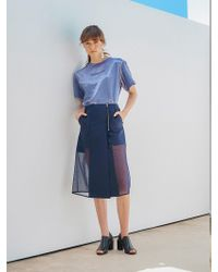 OUAHSOMMET Sheer Block Skirt Navy - Blue