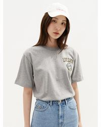 Plac Love Earth Graphic Printed Short Sleeve T-shirt - Gray