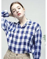 FRIZMWORKS - [unisex] Open Collar Shirt _ Indigo - Lyst