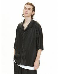 VOIEBIT V092 Vegan Leather Pleated Shirt - Black