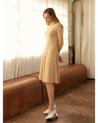 a.t.corner Flared Rib Knit Dress Light Yellow