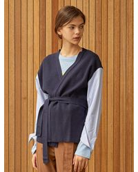 Clue de Clare Shirt Sleeve Cardigan - Blue