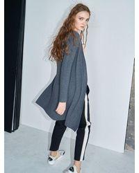 AYIHOLIC CASHMERE Merino Wool Open Front Cardigan Charcoal - Grey