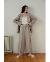 AEER - Trousers Wide Big Check Linen Beige - Lyst