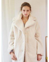 VEMVER Teddy Bear Boucle Coat_ivory - White