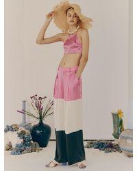 Fleamadonna Triple Colour Wide Silk Pants - Pink