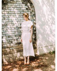 AYIHOLIC CASHMERE Back Strap Long Dress White