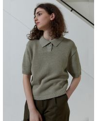38comeoncommon Layered Collar Half Sleeves Knit Jumper (olive Green)