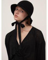 1159 STUDIOS - Mh7 Ribbon Knit Bucket Hat_black - Lyst