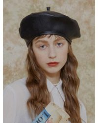 among A Artificial Leather Beret Black