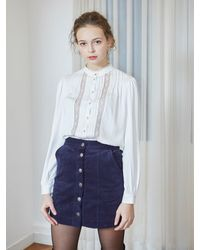 VEMVER Corduroy Mini Skirt - Blue