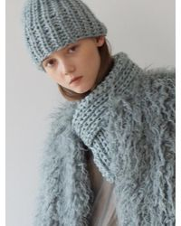 Awesome Needs - Hand Made Lambs Wool Knit Muffler_blue Grey - Lyst