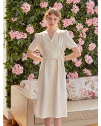 YAN13 - Slim Waist H-line Dress Cream - Lyst