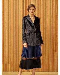 Clue de Clare Velvet Double Jacket - Black