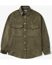 LAYER UNION - Snap Faux Suede Over Shirts - Lyst