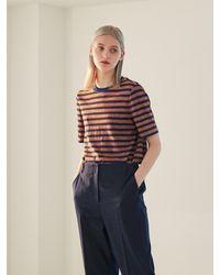 COLLABOTORY Stripe Short Sleeve Tee Shirt - Red