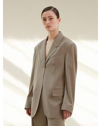 AEER Single Buttoned Wool Jacket - Natural