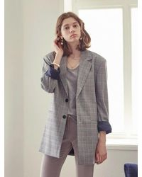 YAN13 W Tom Check Jacket - Grey