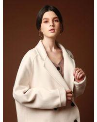 VRUMOUS Handmade Wool Double Breasted Half Coat Ivory - White