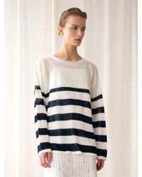 among Stripe Loose Knit - Blue