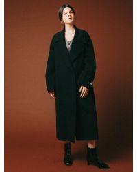 VRUMOUS Handmade Wool Overfit Ballon Coat Black