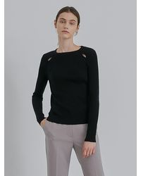 among A Slit Detail Knit Top - Black