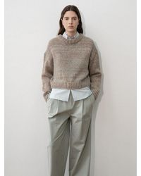 Amomento Loose Fit Cropped Body Pullover Jumper - Natural